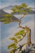 tableau paysages arbre brume montagne zen : au-delà-des-brumes