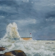 tableau vague phare marine : Lame blanche sur phare rouge