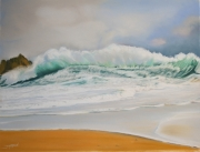 tableau marine vague mer plage : Avalanche iodée