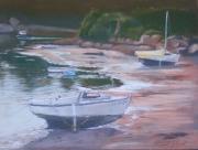 tableau marine : Deux bateaux endormis à Ploumanac'h