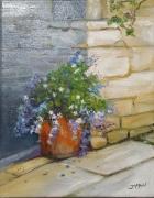"tableau fleurs fleurs mur en pierre nature village fleuri : ""L'angle fleuri"""