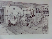 tableau personnages dessin galerie oeuvres artiste : Tableau lorrain d'Albert Thiam