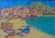 tableau paysages artiste oeuvres dessins expositions : La plage de Cefalu