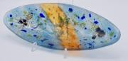 ceramique verre fleurs feuille art de table decoration motif vegetal : plat apéritif bleu oval