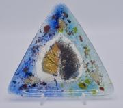 ceramique verre fleurs feuille art de table decoration motif vegetal : assiette triangle bleu
