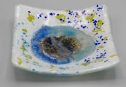 ceramique verre fleurs feuille art de table decoration motif vegetal : assiette carrée blanche