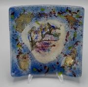 ceramique verre fleurs feuille art de table decoration motif vegetal : assiette carrée blue