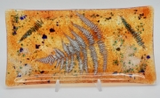 ceramique verre fleurs feuille art de table decoration motif vegetal : plat cake orange fougère