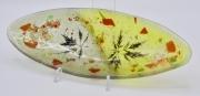 ceramique verre fleurs feuille art de table decoration motif vegetal : plat apéritif vert oval
