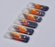 ceramique verre abstrait verre art de table decoration fantasie : Portes couteaux orange-noir (x6)
