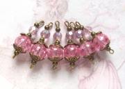 bijoux autres connecteurs perles rose retro : 6 connecteurs perles verre craquelé rose