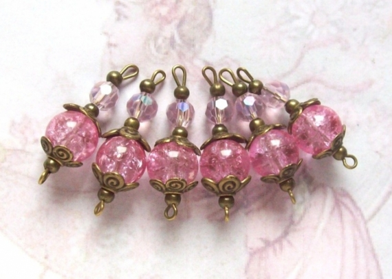 BIJOUX connecteurs perles rose rétro  - 6 connecteurs perles verre craquelé rose