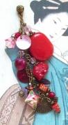 bijoux autres pendentif asiatique rouge perles : Pendentif asiatique