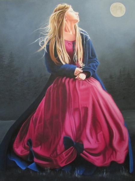 TABLEAU PEINTURE Morgane Personnages Peinture a l'huile  - Dans la tiédeur de la nuit
