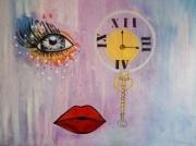 tableau oeil bouche motre horloge : L'oeil
