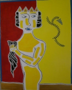 tableau personnages mythologie art contemporain acrylique : Midas se lavant dans le Pactole
