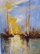 painting abstrait marine bateaux barque voilier : abstrait marine