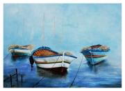 tableau marine bateau barque mer bateau : les 3 barques