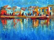 tableau abstrait port lumiere barques bateaux mer abstrait moderne : port en lumière