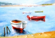 painting marine marina mer barque lelarge lamer barque : l'été indien