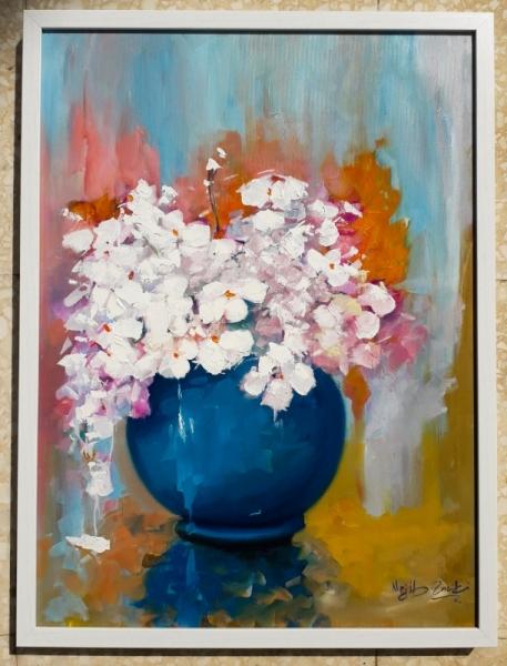 TABLEAU PEINTURE FLEUR BOUQUET ROSE COULEUR Nature morte Peinture a l'huile  - FLEUR BLANCHE