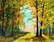 tableau paysages paysage moderne contemporain fleur paysage jaune : paysage