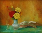 tableau livres vases roses naturemorte : livre de roses