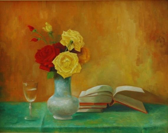 TABLEAU PEINTURE livres vases roses naturemorte  - livre de roses