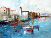 painting marine barque voilier moderne contemporain lumiere : marine urbaine
