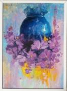 tableau fleurs roses fleurs violet mauve : FLEUR VIOLET