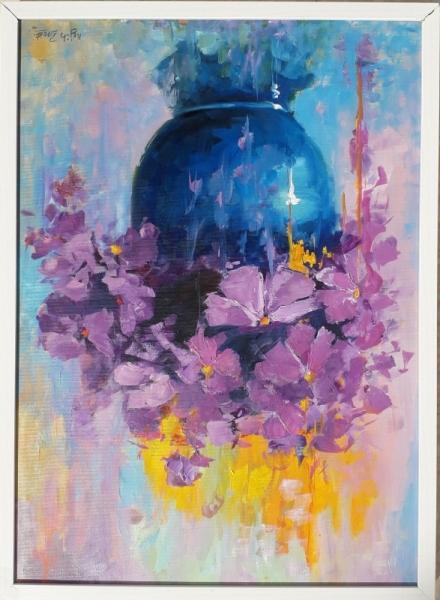 TABLEAU PEINTURE ROSES FLEURS VIOLET MAUVE Fleurs Peinture a l'huile  - FLEUR VIOLET