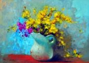 tableau fleurs fleurs roses vases nature morte : les roses 517
