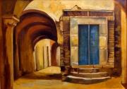 painting architecture ville tunis architecture arabesque jaune oran : la porte bleue