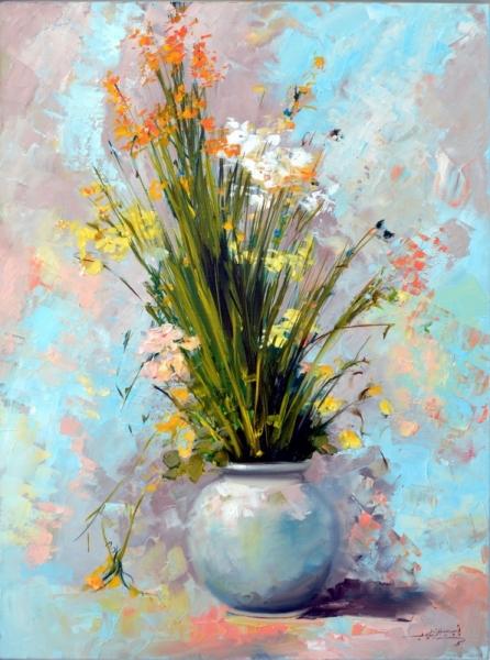 TABLEAU PEINTURE roses fleurts bouquet vases Fleurs  - bouquet