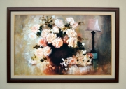 tableau fleurs roses fleurs bouquet naturemorte : roses blanches