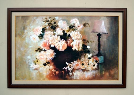 TABLEAU PEINTURE roses fleurs bouquet naturemorte Fleurs  - roses blanches