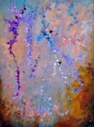 tableau fleurs roses fleurs verdure bouquet : abstrait 345