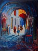tableau villes couleur art contemporain bleu rouge ville arc : la medina chante