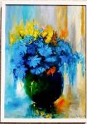 tableau nature morte fleur rose bleu lumiere : FLEUR BLEU