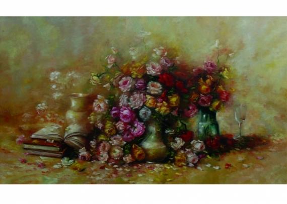 TABLEAU PEINTURE rose fleurs paysage rose fleurs rouge bl Fleurs  - mon amie la rose