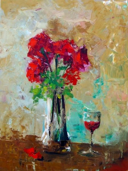 TABLEAU PEINTURE rose vase fleur naturemorte rose fle Fleurs  - souvenir