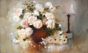 tableau nature morte roses blanches fleurs naturemorte : roses blanches