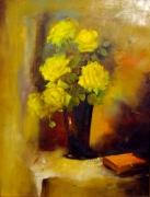 tableau fleurs roses fleurs naturemorte : coup de foudre