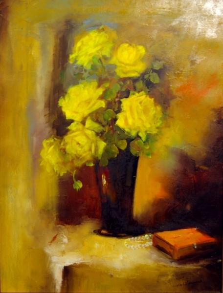 TABLEAU PEINTURE roses fleurs naturemorte Fleurs  - coup de foudre