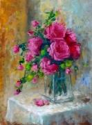 tableau nature morte roses couleur lumiere fleurs : rose rose