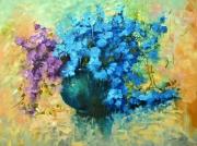 tableau fleurs roses fleurs bleur violet : roses bleu