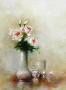 tableau nature morte roses blanches fleurs naturemorte : bouquet blanc
