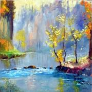 painting paysages paysage riviere moderne paysage rose fleurs : la rivière