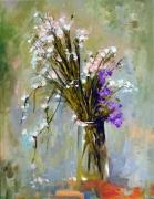 tableau fleurs bouquet rose vase naturemorte : le bouquet444