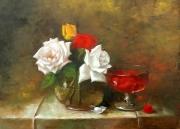 tableau nature morte roses rouge blanc fleur : jardin amour